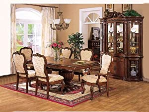 7 Pc Cherry Wood Finish Hercules Collection Dining Room Table Set