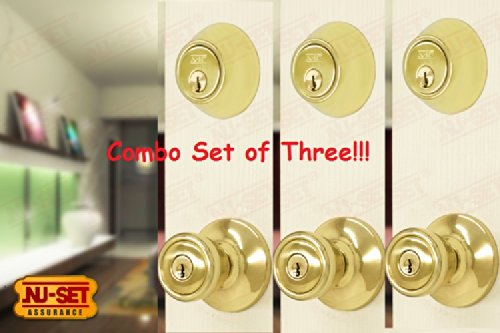 Nuset Entry Door Lockset Of 3 Entry Door Knobs And 3 Double Cylinder Dead Bolts front-730399