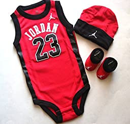 Jordan Nike Jumpman 23 Infant 3 Piece Set Bodysuit Cap Booties, Size 0 - 6 Months (Red)