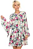 MeshMe Womens Delphine - Floral Print Key Hole Bell Sleeve Boho Dress