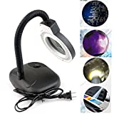 aokur Adjustable Goose Neck 5X 10X Tabletop Magnifier and Desk Lamp Light for Hobby, Crafts, Inspection, Reading Books Jewelry Design Black
