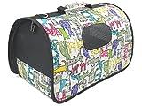 ペット キャリー バッグ キャット 柄 おりたたみ 式 犬 猫 動物 お出かけ 旅行 搬送 持ち運び 用 (Mサイズ)