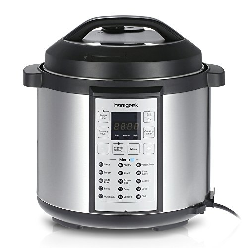 Homgeek 6Qt/1000W Professional Electrical Pressure Cooker Slow Cooker Rice Cooker Essential Household Appliances