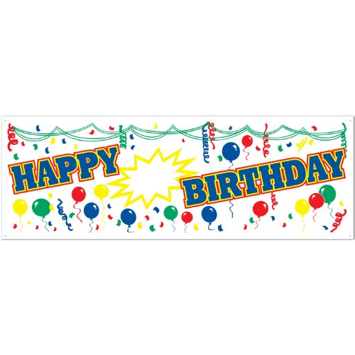 Happy Blank Birthday Sign Banner Party Accessory (1 count) (1/Pkg)
