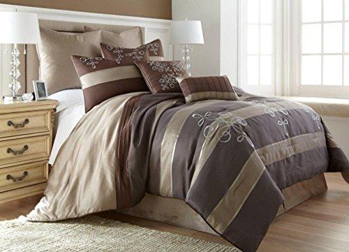 Reve Striped 8-Piece Jacquard Comforter Set King Brown