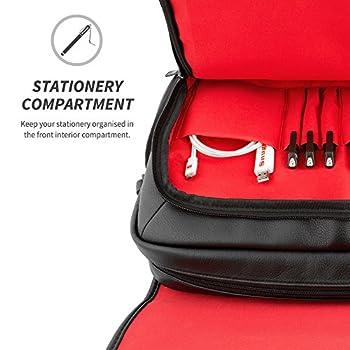 """Snugg™ Crossbody Shoulder Messenger Bag in Black Leather - Fits Laptops up to 17"""" 2"""