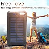 Solar Charger, Solar Power Bank, iBeek® Portable 10000mAh Dual USB Solar Battery Charger External Battery Pack Phone Charger with 12 LED Flashlight for Emergency Outdoors Travel Camping (Black)