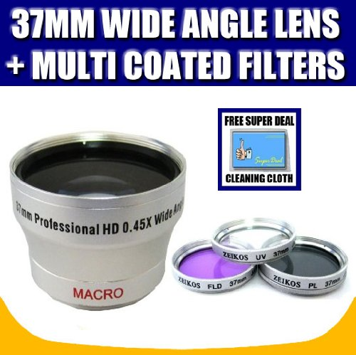 Zeikos 37mm 0.45X Wide Angle Lens and Zeikos 37mm Multi-Coated 3 Piece Filter Kit (UV-CPL-FLD) with Exclusive FREE Complimentary Super Deal Micro Fiber Lens Cleaning Cloth