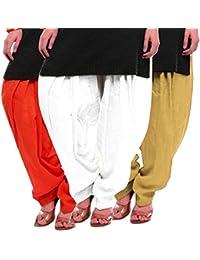 Women's Orange White-Beige Cotton Patiala Salwar