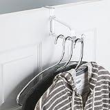 mDesign Over the Door Storage Hook for Kitchen, Hallway, Entryway, Bathroom - Clear