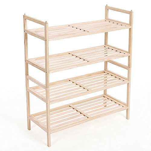 songmics 2 fach schuhregal und stapelbar holz schuhschrank 4 ebenen f r 16 paar schuhe 70 x 80 x. Black Bedroom Furniture Sets. Home Design Ideas