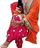 SiyaRam Womens Punjabi Kudi Orange Dress Material (SD1294_Orange_Free Size)