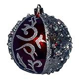 Boule de noël décorée - Perles - Rouge