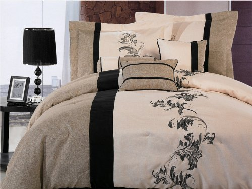 Chezmoi Collection 7 Pieces Luxury Brown, Cream, and Black with Floral Linen Duvet Cover Set Queen Size Bedding
