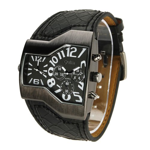 Muchbuy Oulm Russian Army Military Dual Time Mens Sports Wrist Watch (Black)