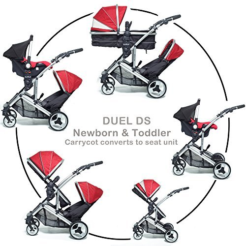 Dual combo Double pushchair with carrycot pram Newborn & toddler, tandem travel system buggy convertible carrycot to seat unit and toddler/child seat unit, 2 rain covers Silver Chassis, Berry Red by Kidz Kargo
