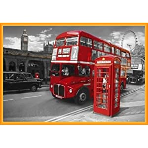 tableau de londres avec bus et cabine telephonique. Black Bedroom Furniture Sets. Home Design Ideas
