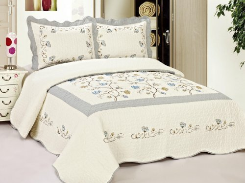 Big Save! King Size Quilted Bedspread Blue Flowers Floral 0046