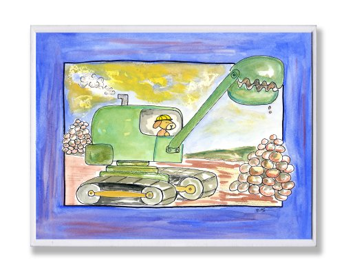 The Kids Room by Stupell Green Excavator with Blue Border Rectangle Wall Plaque