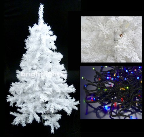 WHITE ARTIFICIAL CHRISTMAS TREE 6FT / 180CM + 10 METRE 100 LED FAIRY TWINKLE LIGHTS IN MULTICOLOUR ** HIGH QUALITY XMAS TREE PACKAGE - IDEAL FOR CHRISTMAS DECORATIONS, XMAS LIGHTS, ETC **