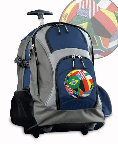 World Soccer Ball Rolling Backpack Deluxe Navy International Flags Soccer Backp