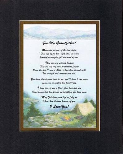 Touching and Heartfelt Poem for GrandParents - For My Grandfather, Memories Are... Poem on 11 x 14 inches Double Beveled Matting (Black On Gold)