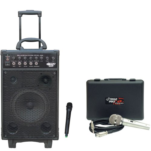 Pyle Speaker And Mic System Package - Pwma1050 800 Watt Vhf Wireless Battery Powered Pa System W/Echo/Ipod/Mp3 Input Jack - Pdmik4 Dynamic Microphone With Carry Case
