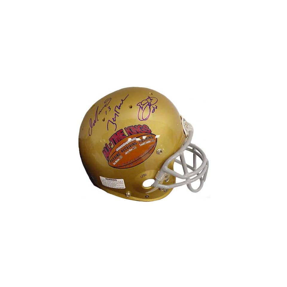 NFL All Time Stats Leaders   Emmitt Smith, Dan Marino, and Jerry Rice   Autographed Authentic Gold Helmet