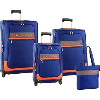(1.3折)Nautica Luggage Rhumb Line 诺帝卡 行李箱 4件套 蓝橙色 $159.99