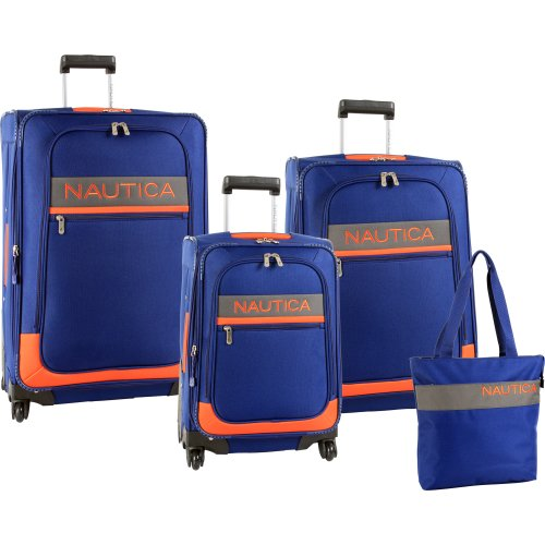 Nautica Luggage Rhumb Line 4 Piece Luggage Set, Navy/Orange, One Size special offers