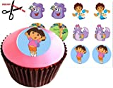 12 DORA THE EXPLORER 38mm (1.5 Inch) PRE-CUT Cake Toppers Edible Rice Paper Cupcake Decoration 151