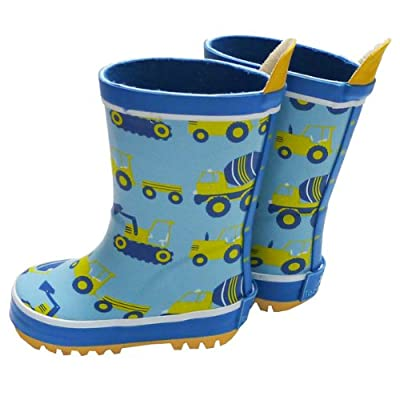Toby Tiger Boys Wellies Turquoise Digger