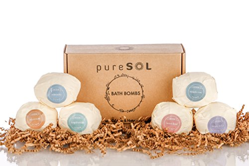 pureSOL-Bath-Bombs-6-Pack-Treat-Yourself-to-a-Relaxing-Luxurious-Bath-Time-Natural-Organic-Bath-Bomb-Essential-Oils-Soothes-Joints-Muscles-Bath-Bomb-Gift-Set