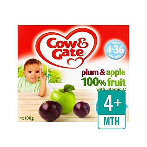 Mucca & Gate Prugna E Frutta Mela Pentole 4 X 100G - Confezione da 2