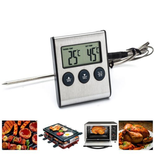 Kitchen Appliances Digital LCD BBQ Grill Meat Kitchen Oven Food Cooking Baking Thermometer Timer Tools Plastic Grey (Toaster Oven Coffee Maker Combo compare prices)