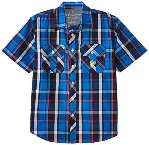 U.S. Polo Assn. Big Boys' Two Pocket Plaid Sport Shirt, Blue Tile, 18