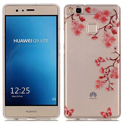 Ecoway copertura / coperture / insiemi di telefono / shell protettivi apparecchi telefonici mobili chiari e trasparenti Custodia TPU silicone Crystal per Huawei P9 Lite, case cover protettivo disegno speciale - Maple Leaf