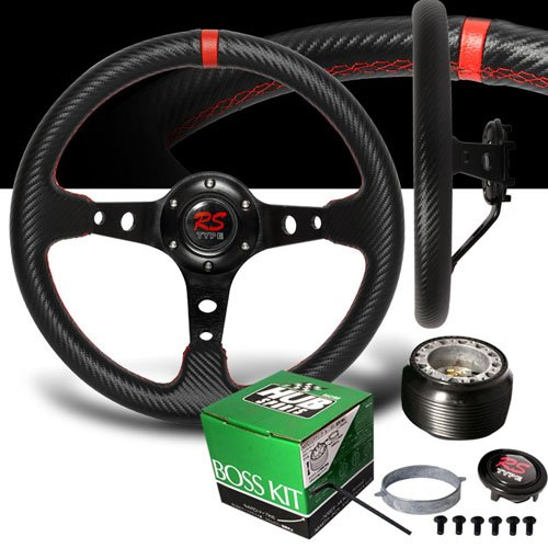1990-1997 Mazda Miata Red Stitches Carbon Drift Style Steering Wheel with Hub Adaptor (Mazda 323 Steering Wheel compare prices)