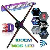 2020 3D Hologram Projector Fan Holographic Naked Eye Led Advertising Display WiFi Player Displayer 100cm Digital Advertising Machine (100CM) (Tamaño: 100CM)