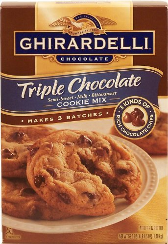 Ghirardelli Triple Chocolate cookie mix with semi-sweet, milk, and bittersweet chocolate, makes 3 batches, add egg & butter 52.5 oz Box