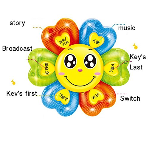 Eonkoo Cute Colorful Multi-function Sunflower Light Projector Educational Music Toy for Baby Kids Early Learning Plastic Story Machine scintillation Game toys