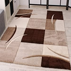 Designer Carpet With Contour Cut Chequered In Brown And Beige, Size 160x230 cm       reviews