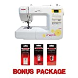 Janome 7330 Magnolia Computerized Sewing Machine with 30 Built-In Stitches plus Ultra Glide Foot, Set of Assorted Size Universal Needles, and 1/4