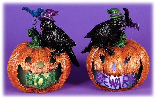 "6"" Halloween Led Light Up Resin Jack O'Lanterns With Crows - Set Of 2"