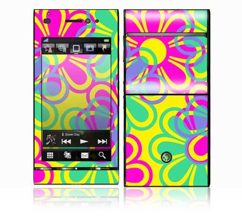 Retro Flowers Design Decorative Skin Cover Decal Sticker for Sony Ericsson Satio Cell Phone