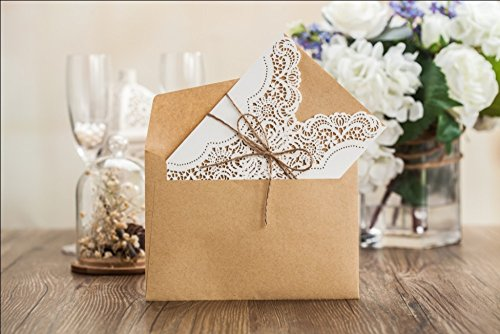 Wishmade 50x Rustic Laser Cut Lace Sleeve Wedding Invitations Cards Kits for Engagement Bridal Shower Baby Shower Birthday Graduation Cardstock with Hollow Favors Rustic Envelope(Set of 50pcs) 1