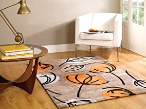 Large Quality Modern HeavyWeight Floral Design Orange Brown Area Rug in 120 x 170 cm (4' x 5'6'') Carpet by Lord of Rugs