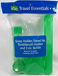 4pc Travel Kit Includes Soap Holder, Travel Jar, Toothbrush Holder And 3 Oz. Bottle Are Ideal For Vacation, Camping, Spa & Gym (Green)