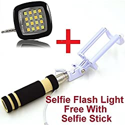 Selfie Flash light with Wired Selfie Stick Complete Gadget for Photography -- All India Free Shipping By Amicikart