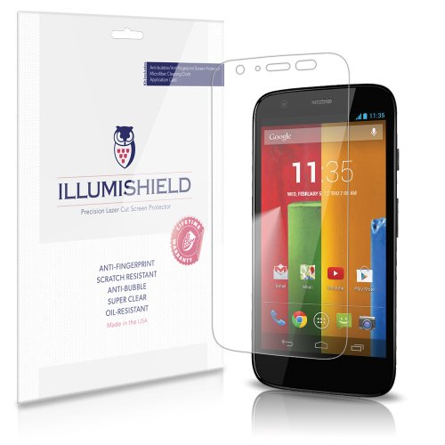 Illumishield - Motorola Moto G Screen Protector Japanese Ultra Clear Hd Film With Anti-Bubble And Anti-Fingerprint - High Quality (Invisible) Lcd Shield - Lifetime Replacement Warranty - [3-Pack] Oem / Retail Packaging (4G Lte Compatible)